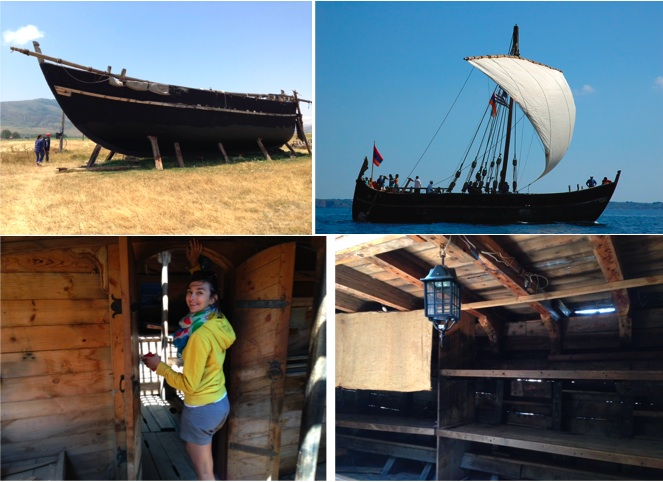 Charlotte and I visiting the sailboat two months ago. It's currently under renovation, but still amazing and full of character.