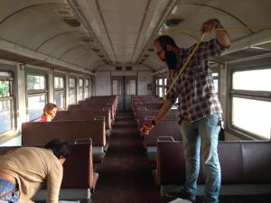 HAYP Team member Hovig Tashjian taking measurements in the train cart. Photo credits: Anna Gargarian