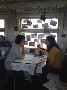 "Sonya Armaghamyan interacting with Anna Gargarian for ""Love in Motion"". Photo credits: Charlotte Poulain"
